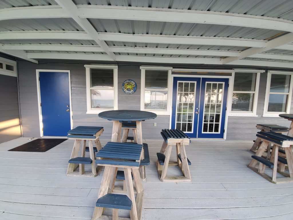 Outdoor gathering space/ patio at Emerald Beach RV Park