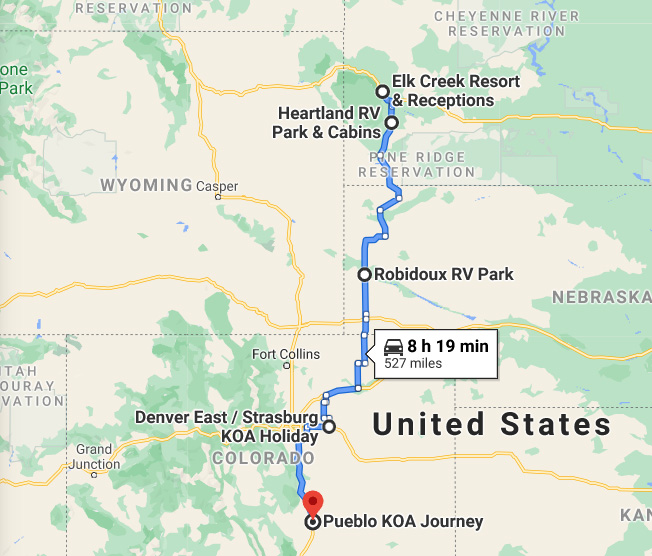 2nd month of full-time rv travel - Piedmont to Pueblo