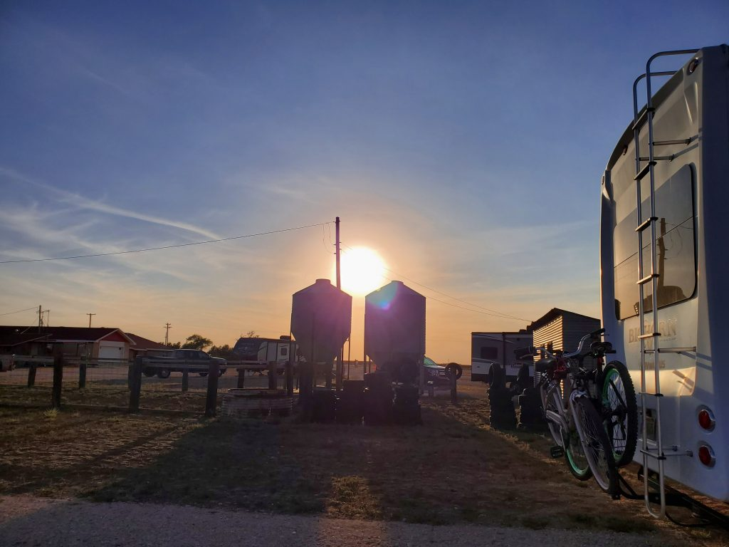 Sunset at Silos RV Park in Canyon TX