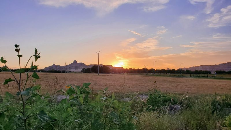Sunset view over Scott's Bluff from Robideaux RV Park