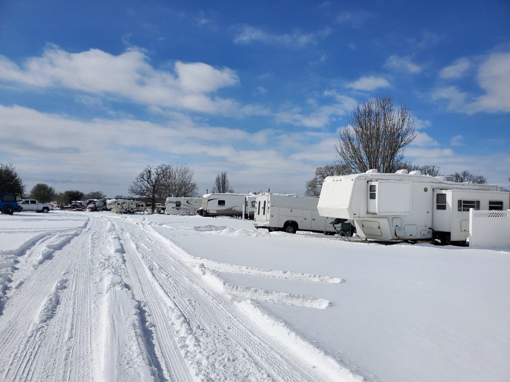 Texan RV Park covered in about 6 inches of snow