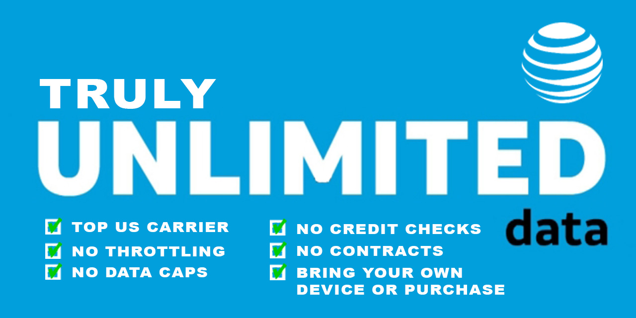 Unlimited AT&T Data Plan - No caps, No Throttling, Simply Unlimited.