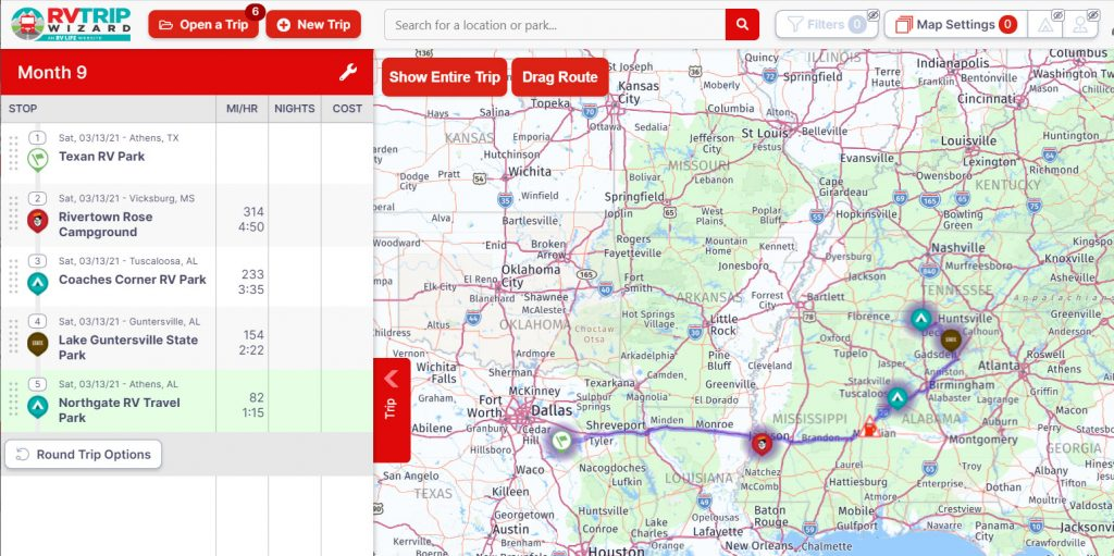 Route from Athens Texas to Athens Alabama